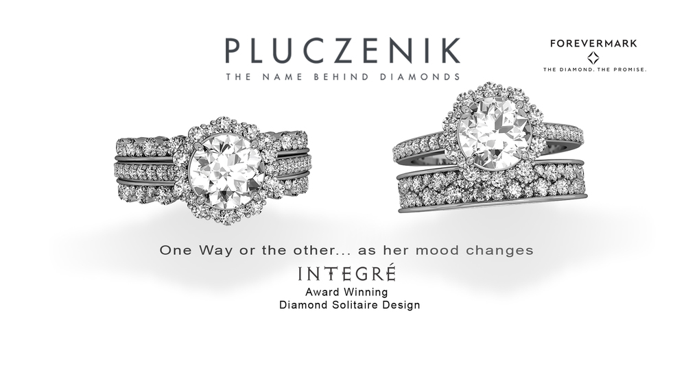 "Integré is an award winning bridal jewelry collection that revolutionizes the concept of ""classic."" Acclaimed New York Designer, Ron Rizzo has synthesized the popular diamond halo design into an innovative, vanguard jewel for a new generation. Integré features exquisite and responsibly sourced Forevermark brand diamonds. The unique radiance of Integré diamond designs accentuates a woman's natural grace, glimmering as she moves. Diamonds vary in size to avail the notes of reflecting and refracting light that surround her, characterizing movement in an elegant display of brilliance. Produced by Pluczenik, a DTC sightholder and leading global diamantaire."