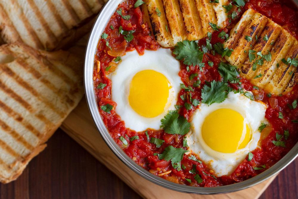 Spicy Baked Eggs with Halloumi Harissa closeup