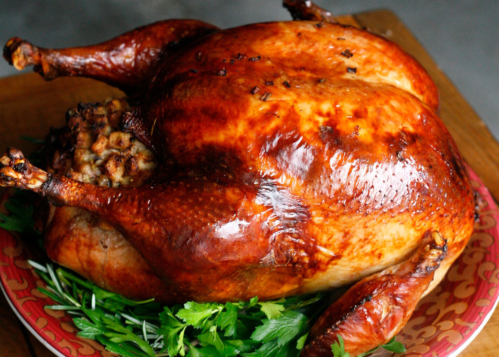 Herb Brined Turkey with Classic Stuffing