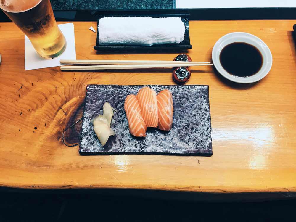 Salmon sushi from Hanazakura in Osaka