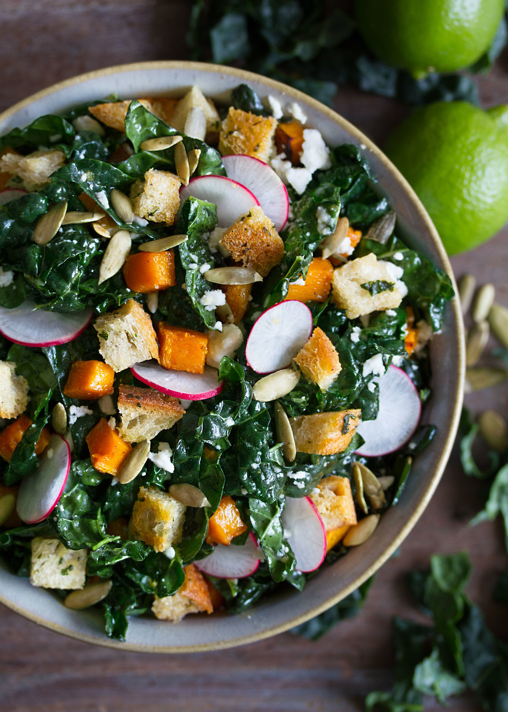 Mexican kale salad with butternut squash and croutons