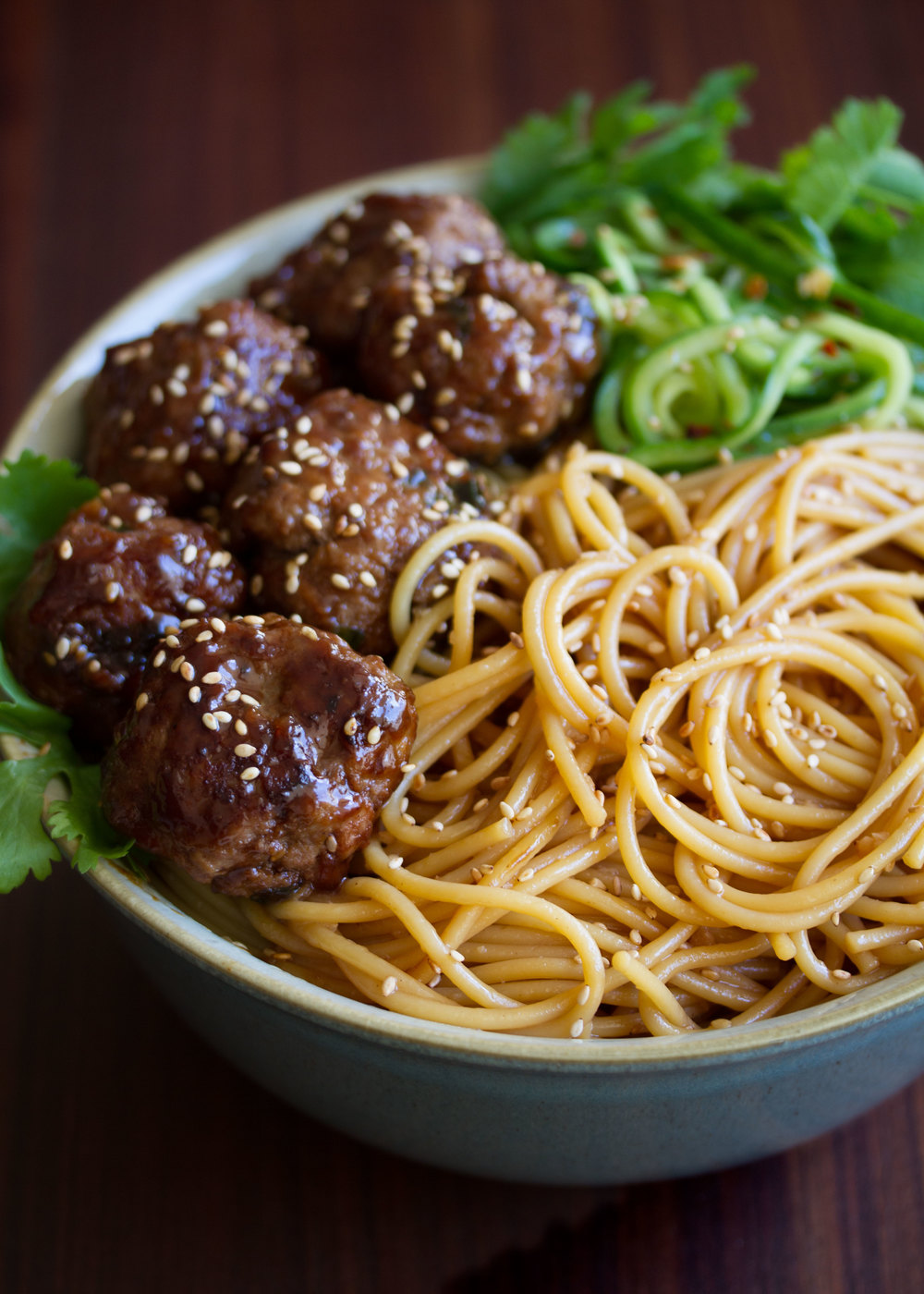 hoisin meatballs with sesame noodles