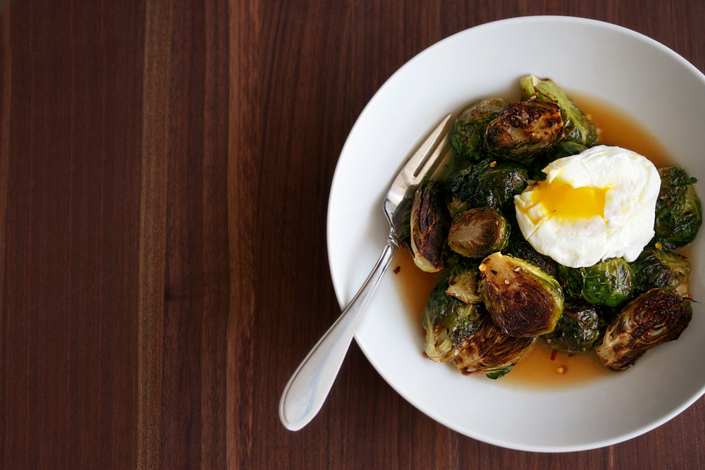 brussels sprouts in bacon dashi broth with poached egg