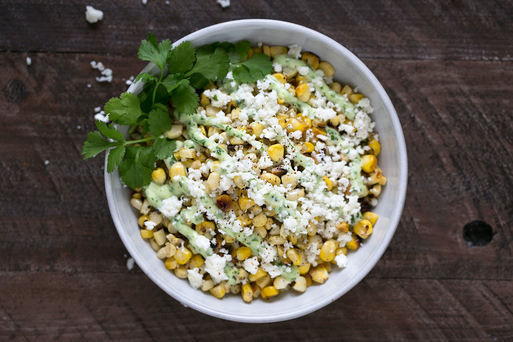 charred corn with cilantro aioli and queso fresco bowl