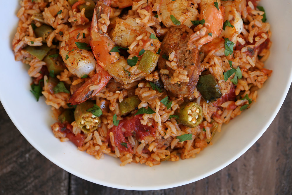 creole jambalaya closeup
