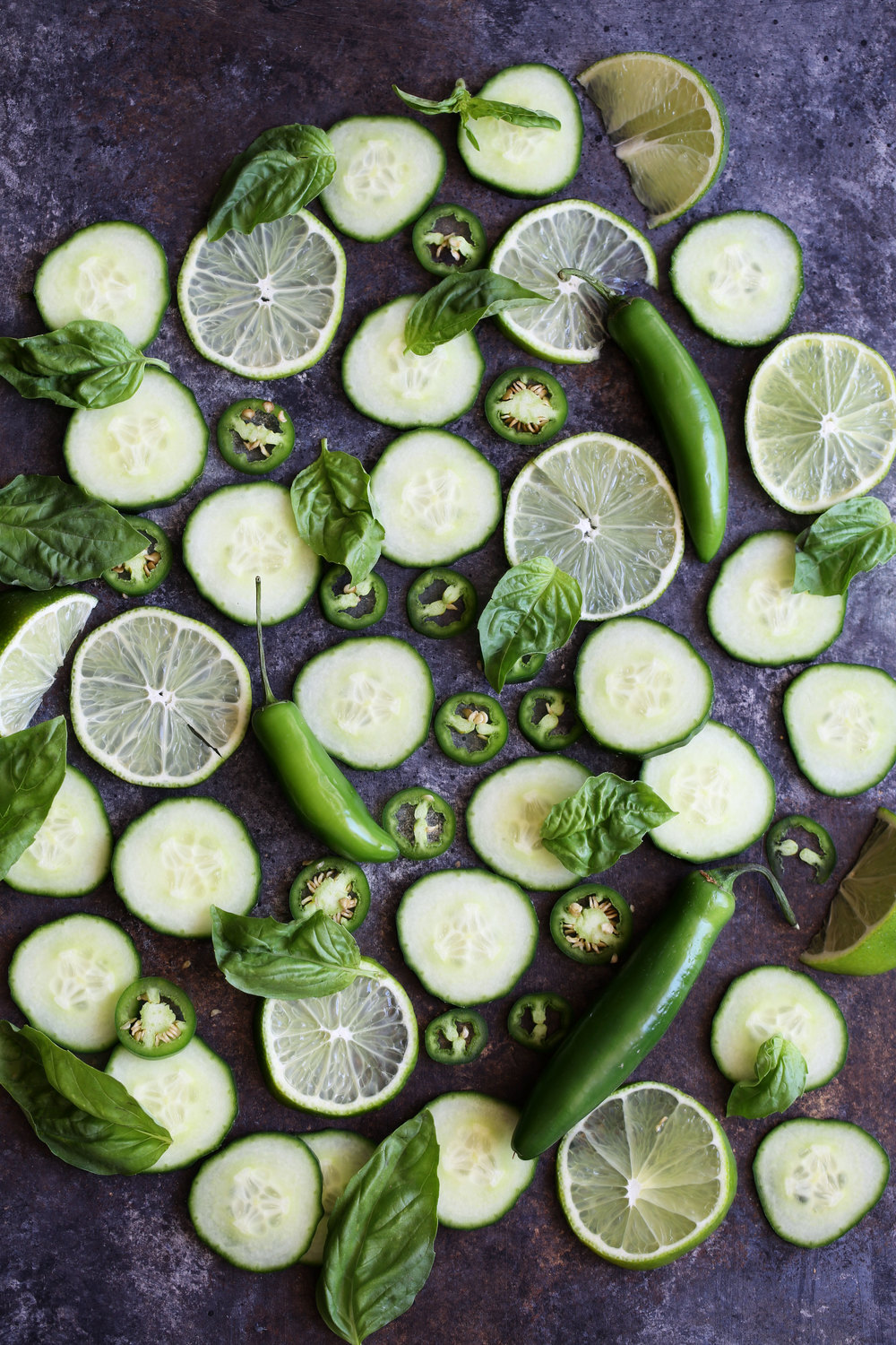 basil cucumber lime serrano peppers