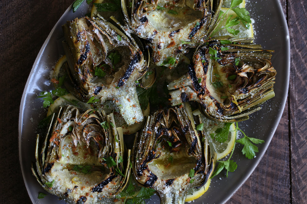 grilled artichokes with lemon dressing