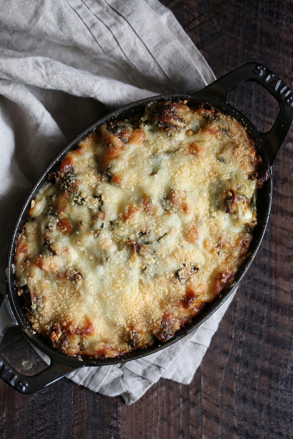 brussels sprouts gratin overhead