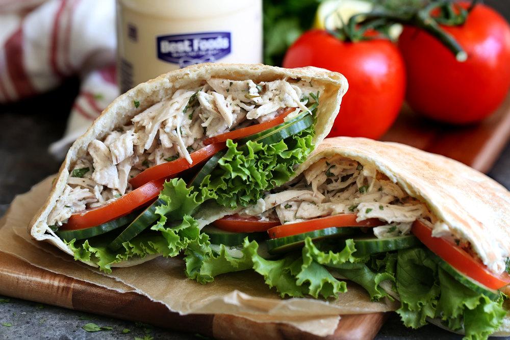 za'atar herb chicken salad pita