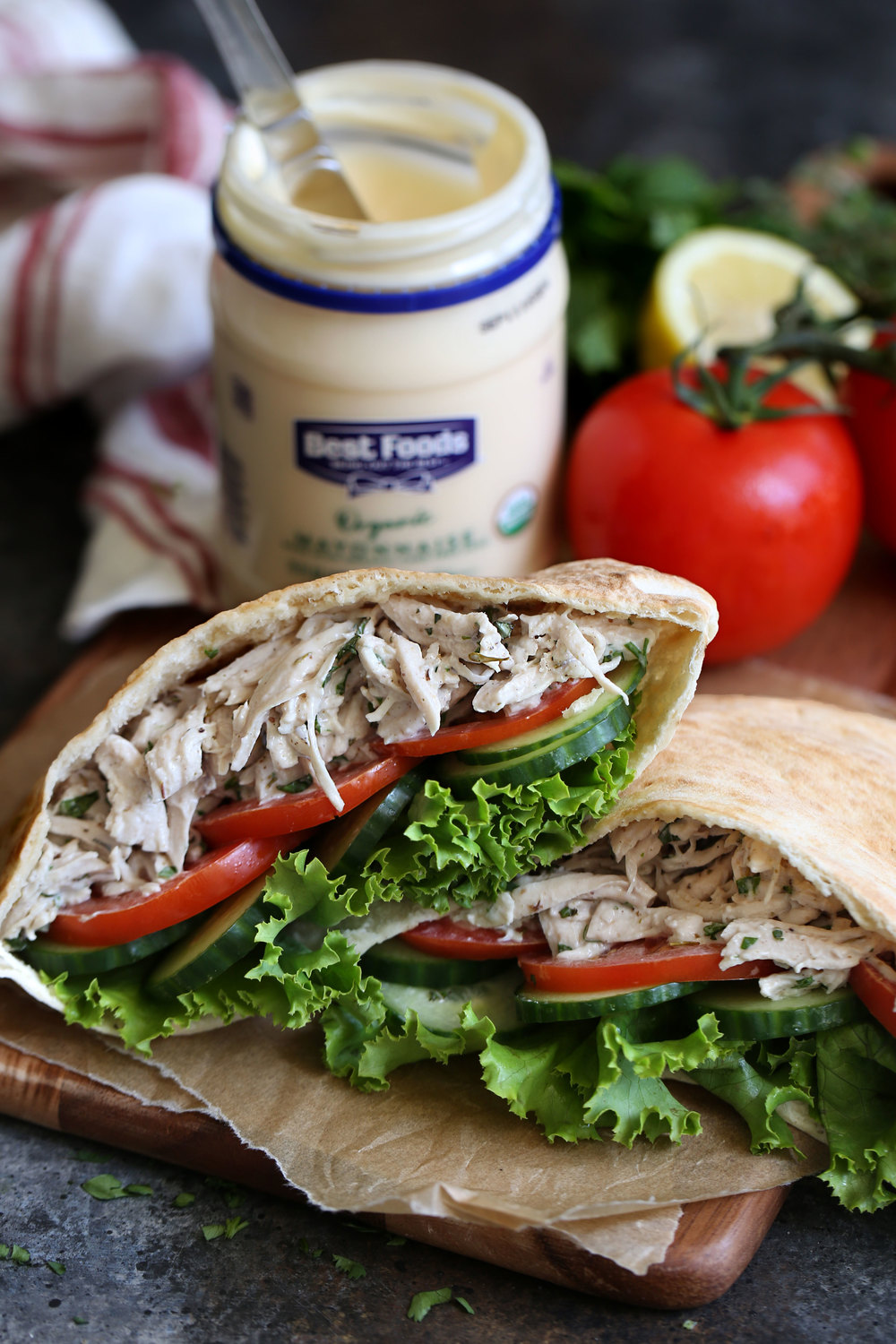 za'atar herb chicken salad pitas