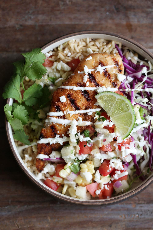 fish taco rice bowl