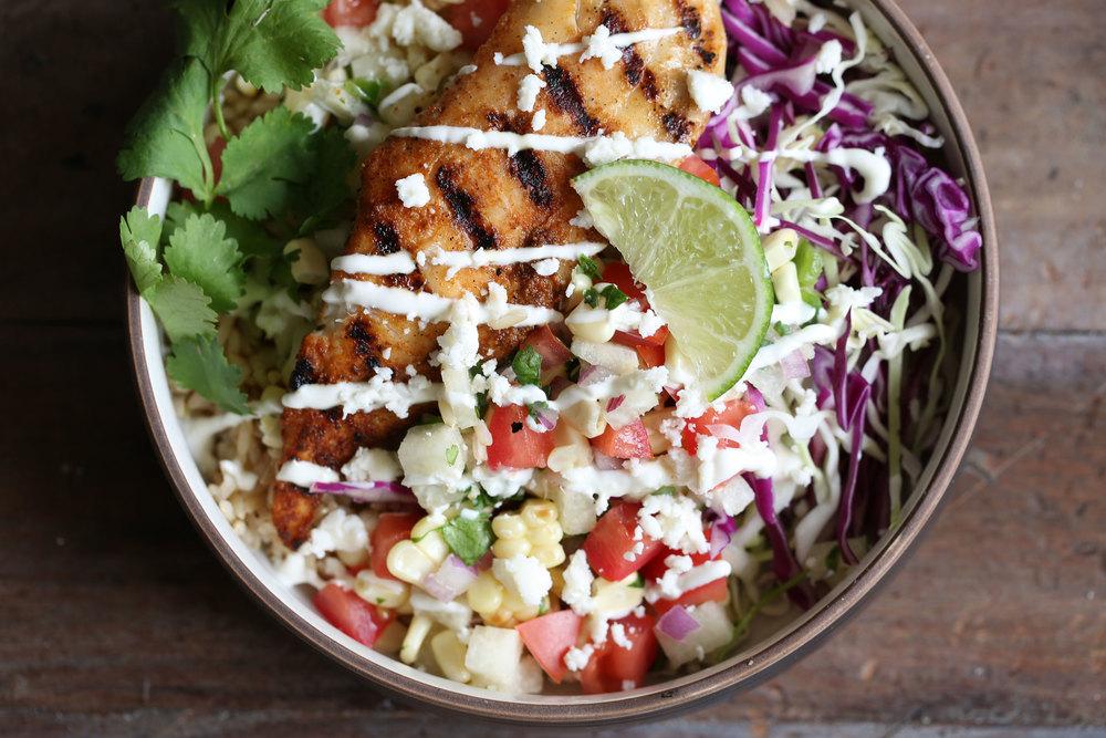 fish taco rice bowl with jicama salsa