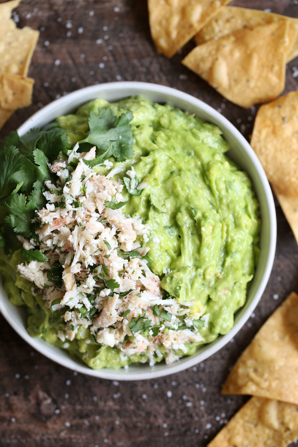 crab guacamole closeup