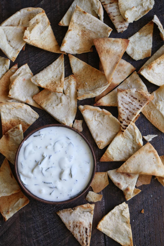 pita chips and tzatziki