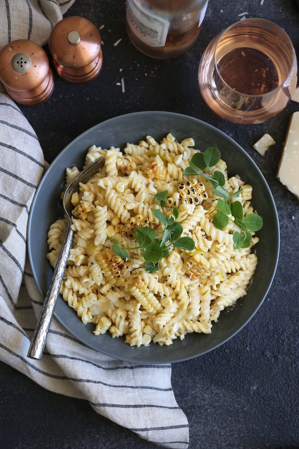 creamy fusilli with truffle grilled corn