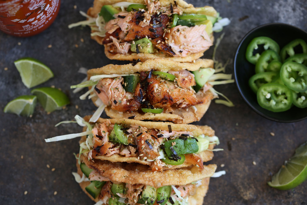 crispy ponzu salmon wonton tacos
