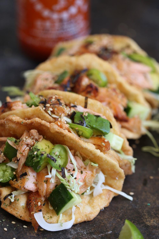 salmon wonton tacos