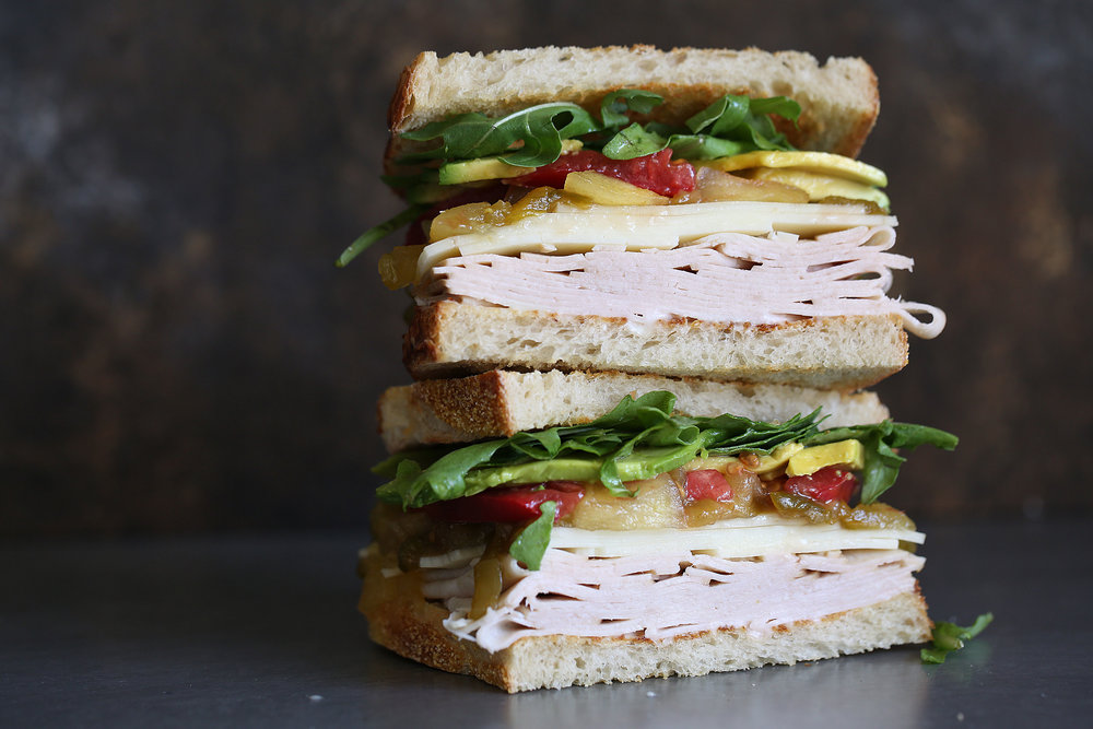 turkey sandwich with apple hatch pepper chutney