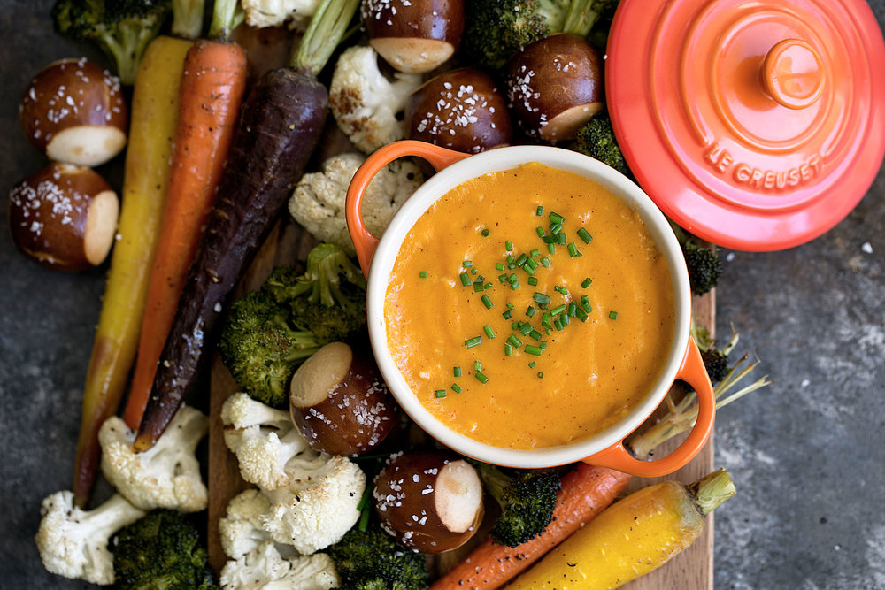 aged cheddar fondue with roasted vegetables