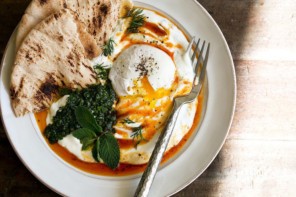 turkish poached eggs and yogurt