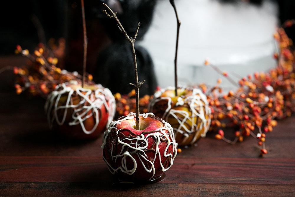 sea salt bourbon caramel apples with spider web chocolate