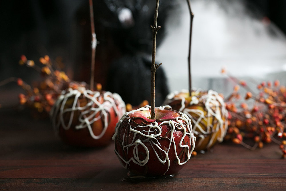 sea salt bourbon caramel apples