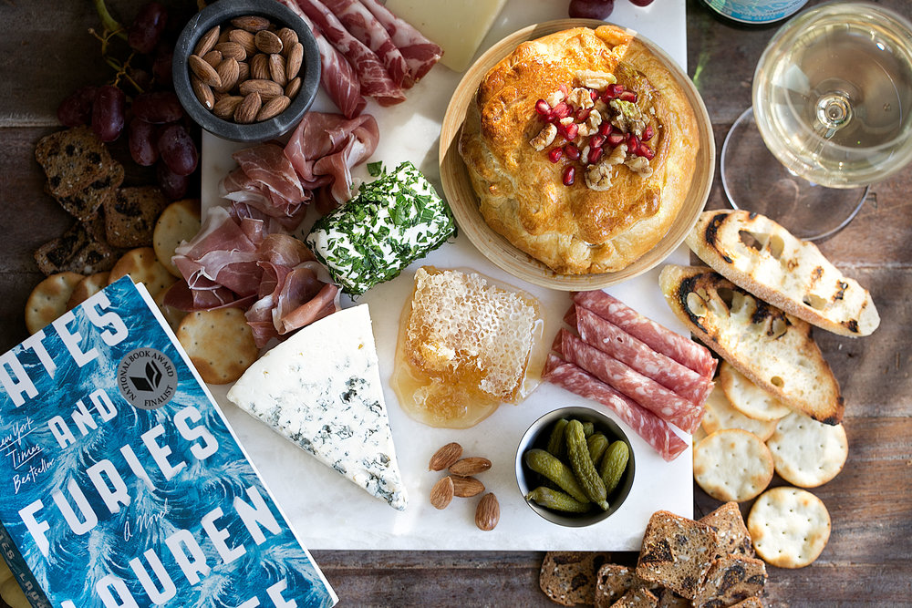 fate and furies book club wine and cheese charcutterie spread