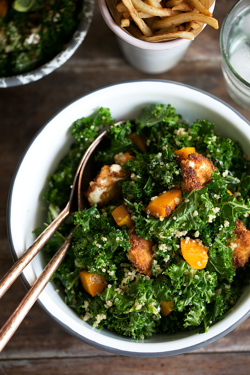Butternut Squash, Quinoa Kale Salad with Goat Cheese and Apple Cider Vinaigrette