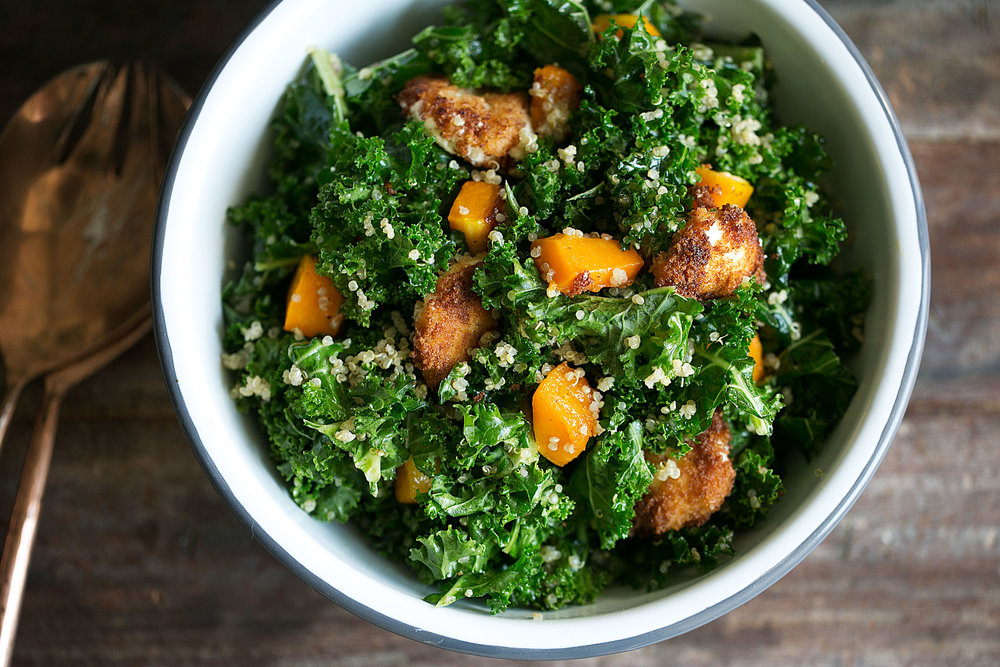 Butternut Squash, Quinoa & Kale Salad with Warm Goat Cheese and Apple Cider Vinaigrette  closeup