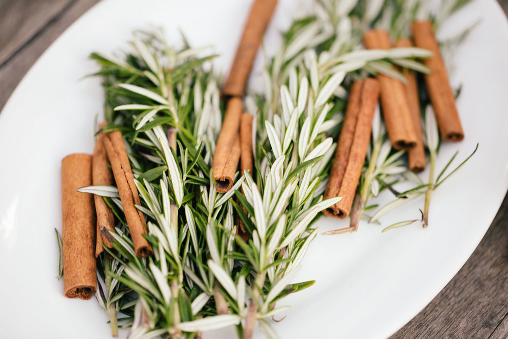 rosemary sprigs and cinnamon sticks