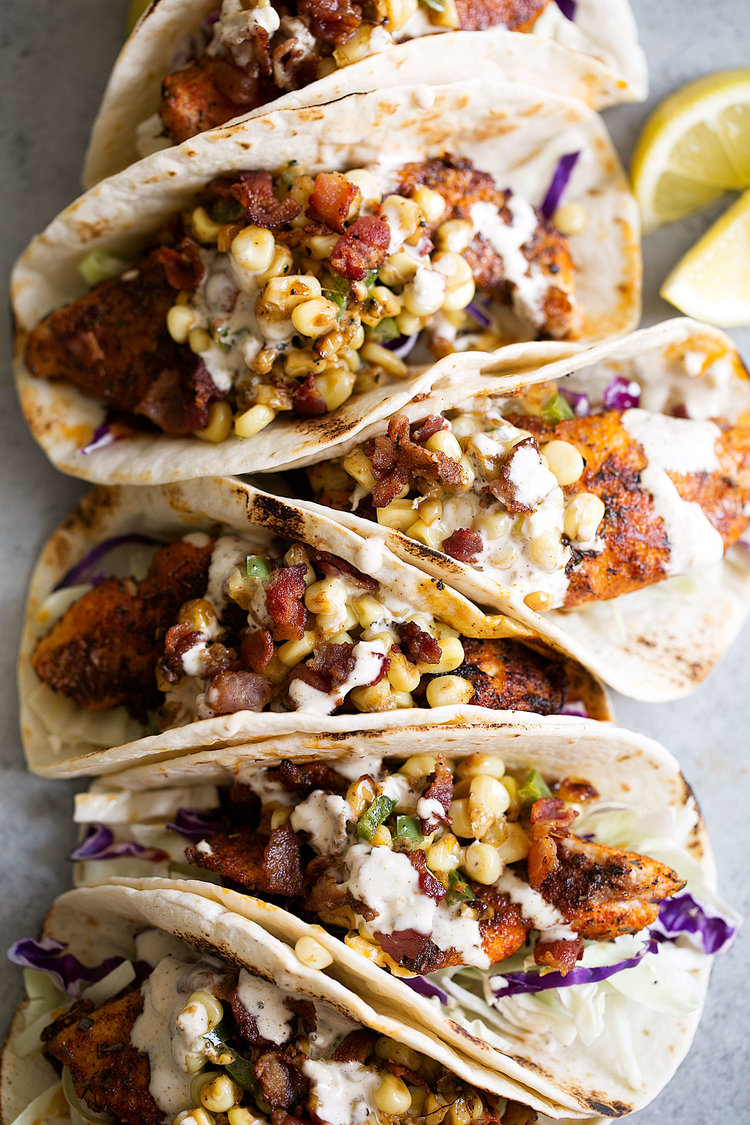 southern blackened catfish tacos with fried corn and old bay aioli