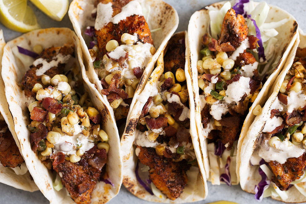 southern blackened catfish tacos closeup