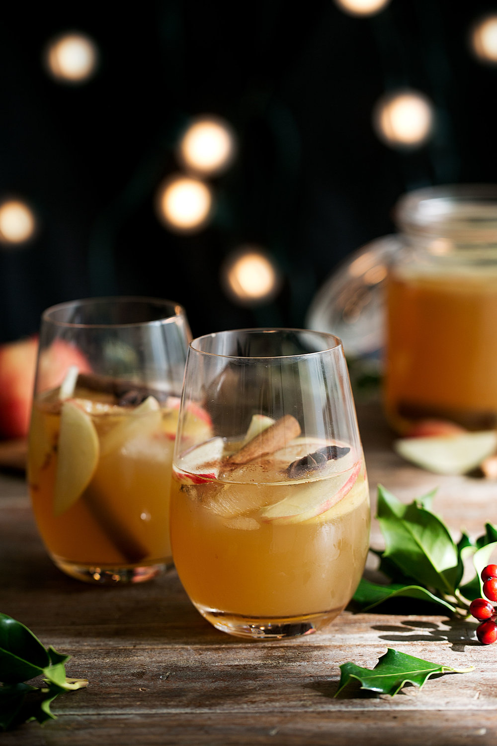 apple cider sangria in wine glasses