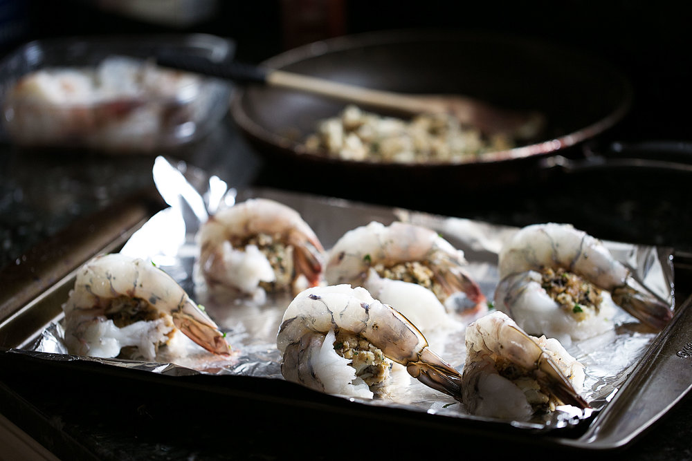 baked stuffed shrimp prepped ready for oven