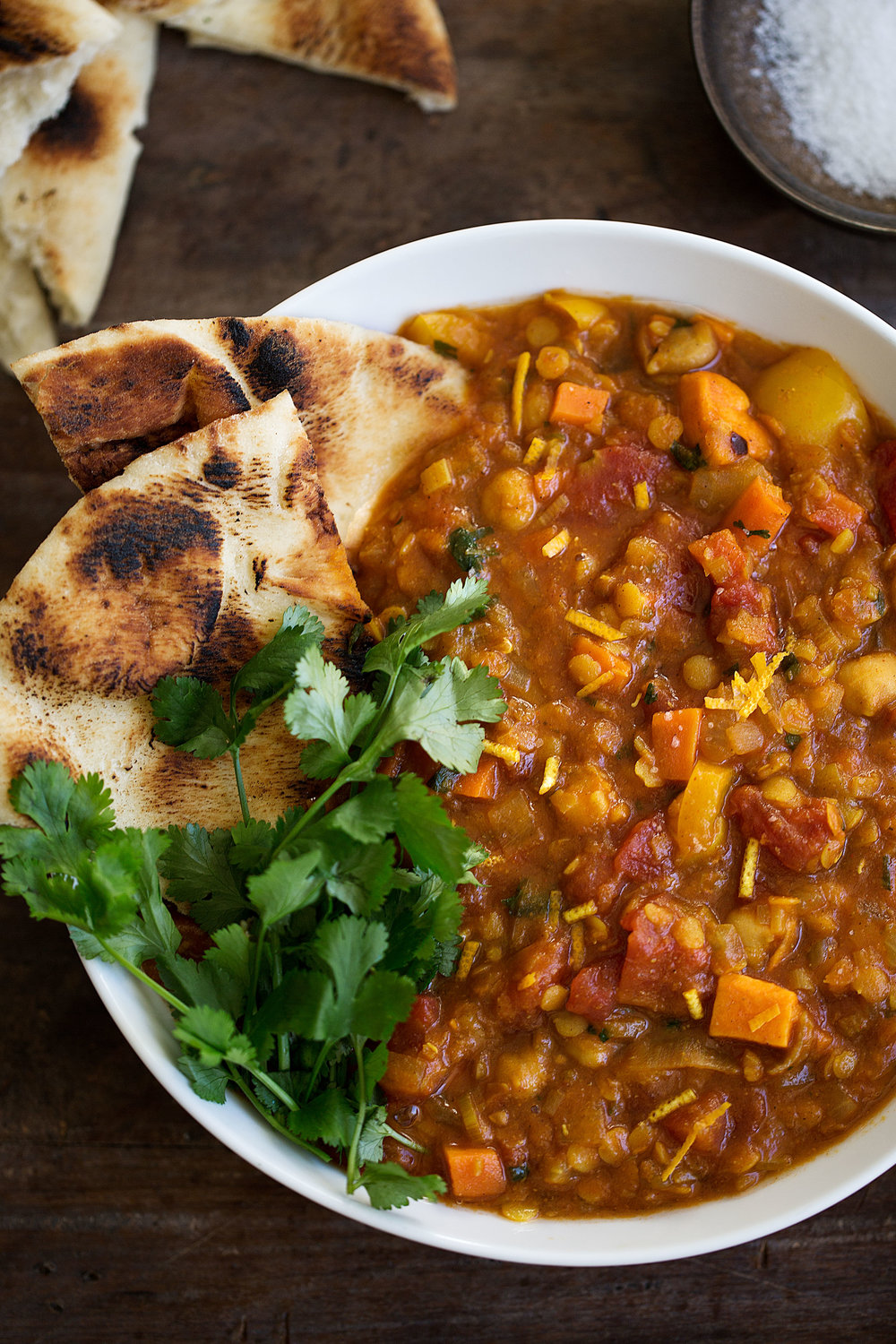 moroccan vegetable stew with lentils and chickpeas