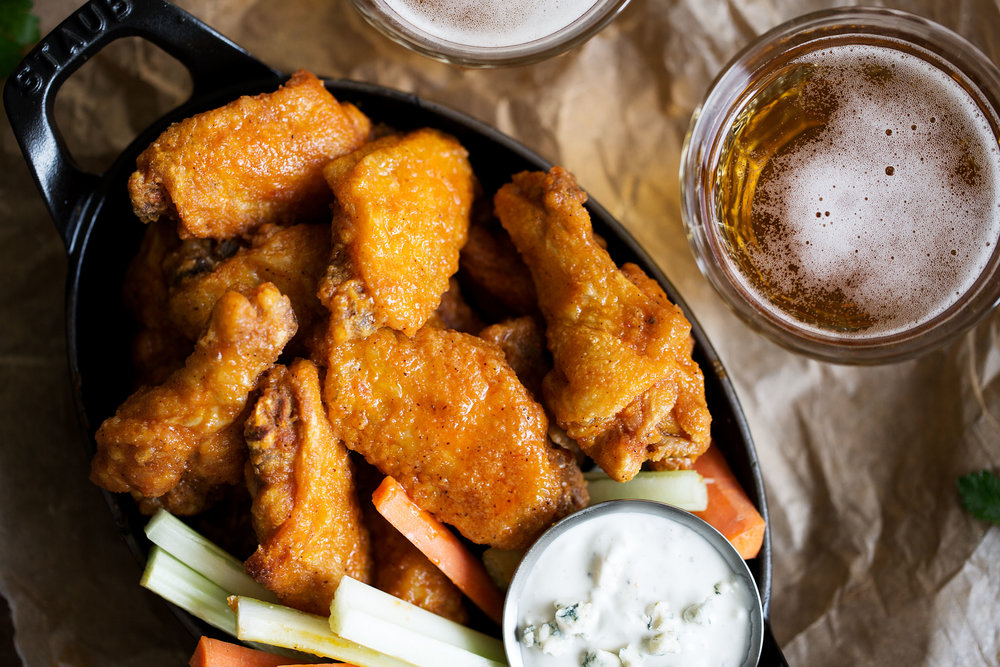 classic buffalo wings with homemade buttermilk blue cheese