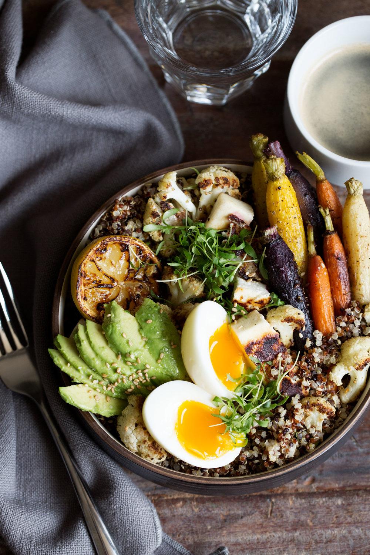 farmer's market breakfast grain bowl closeup