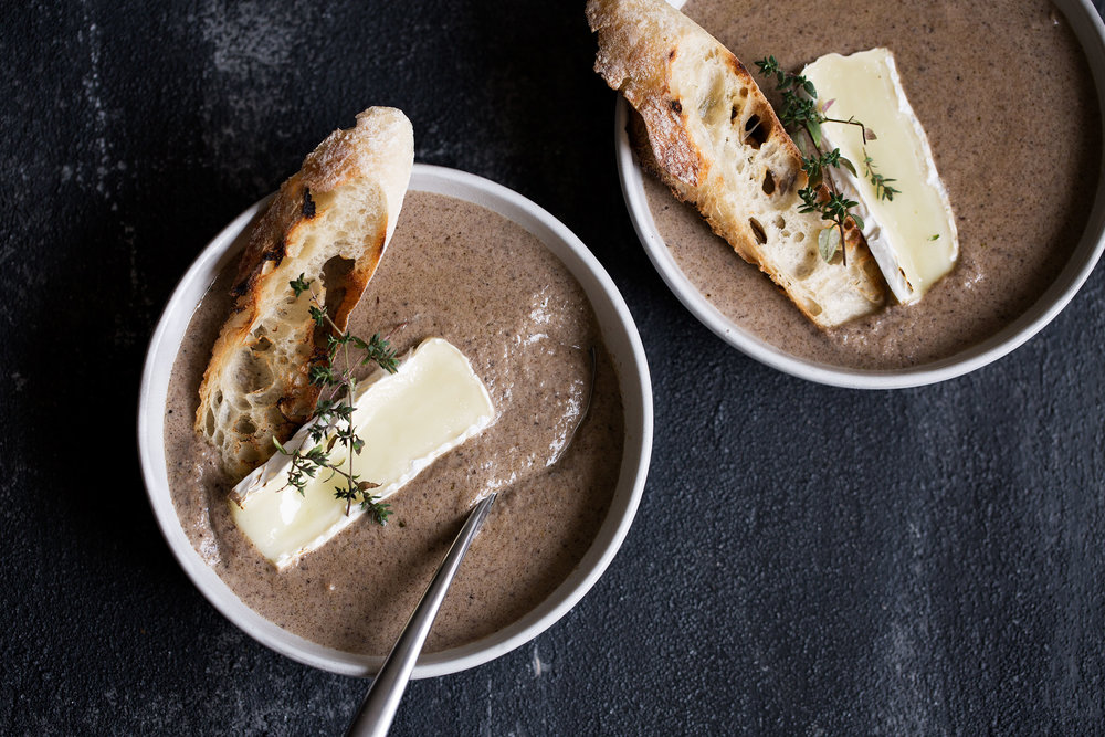 creamy wild mushroom and brie soup