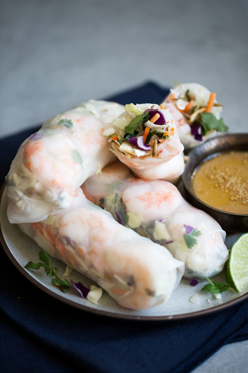fresh asian chopped salad shrimp spring rolls closeup
