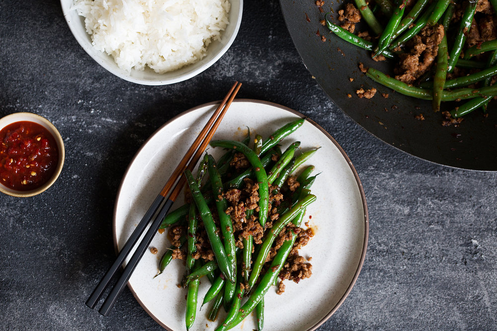 sichuan pan-fried green beans with ground pork