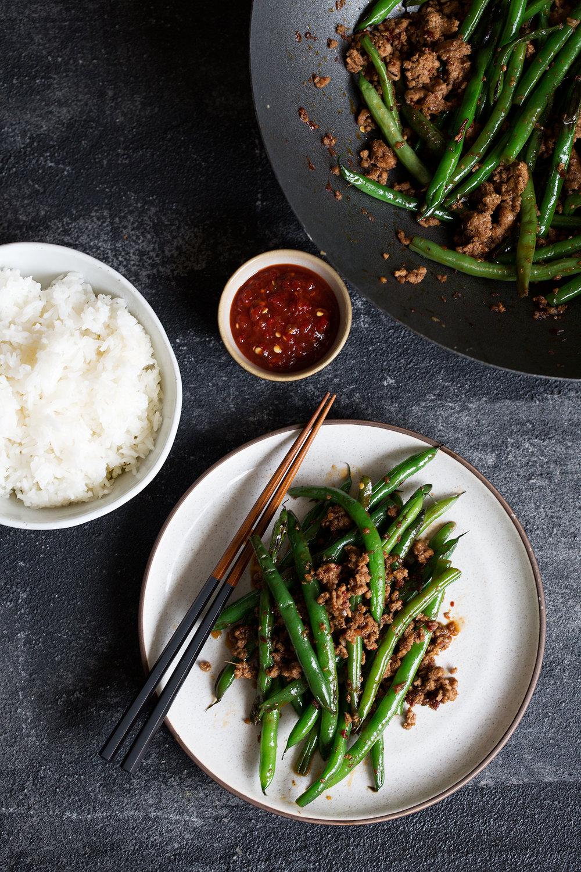 sichuan pan-fried green beans with ground pork
