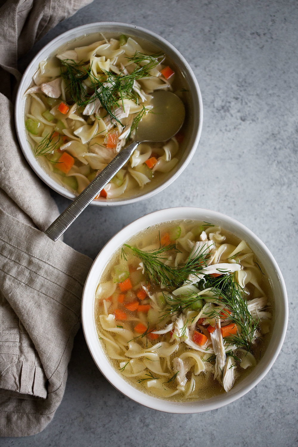 old-school chicken noodle soup from scratch
