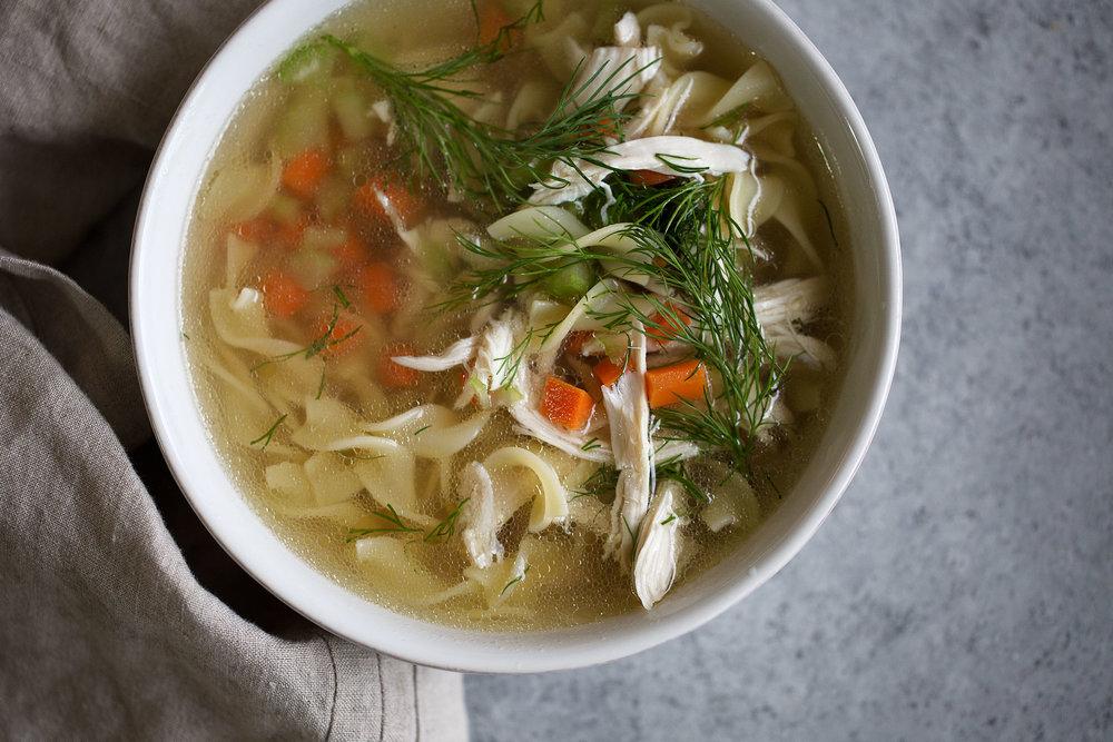 close up chicken noodle soup