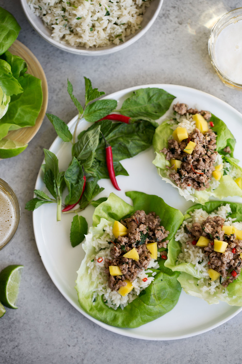 thai pork lettuce wraps with coconut fried rice and mango