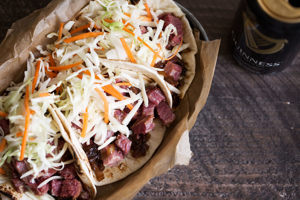 irish tacos with corned beef and guinness caramelized onions