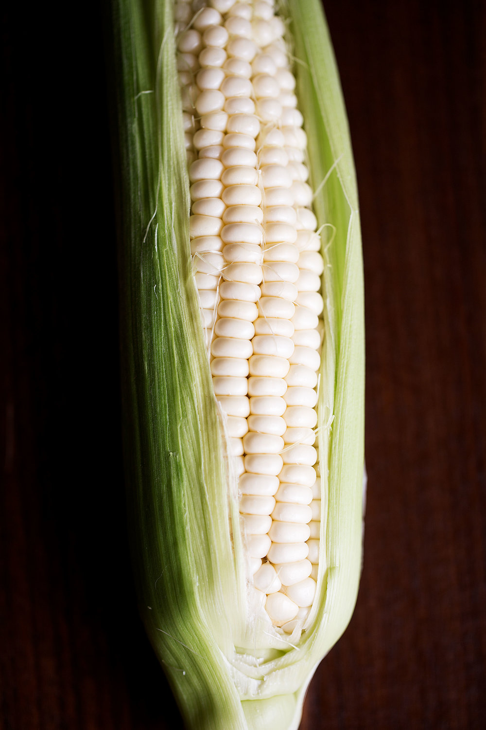 closeup raw corn cob