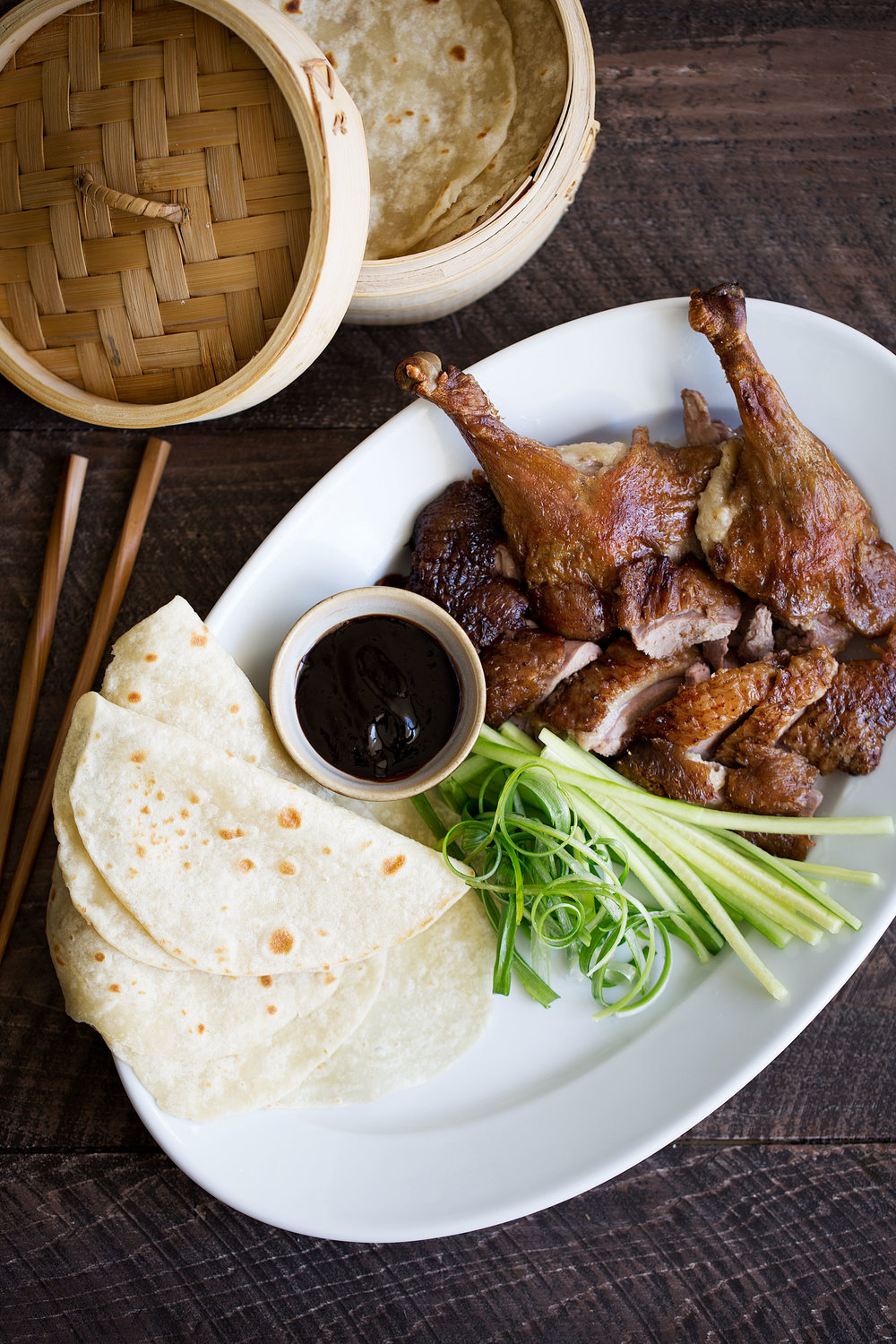 faux peking duck with mandarin pancakes, hoisin, scallions and cucumber