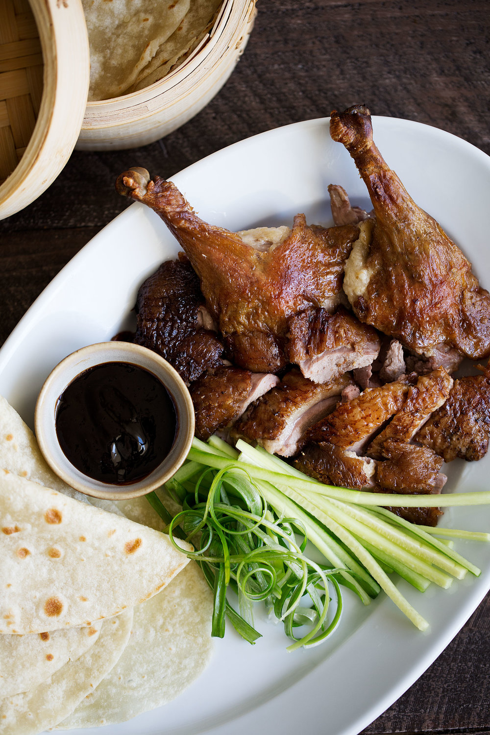 faux peking duck with mandarin pancakes, hoisin, scallions and cucumber platter