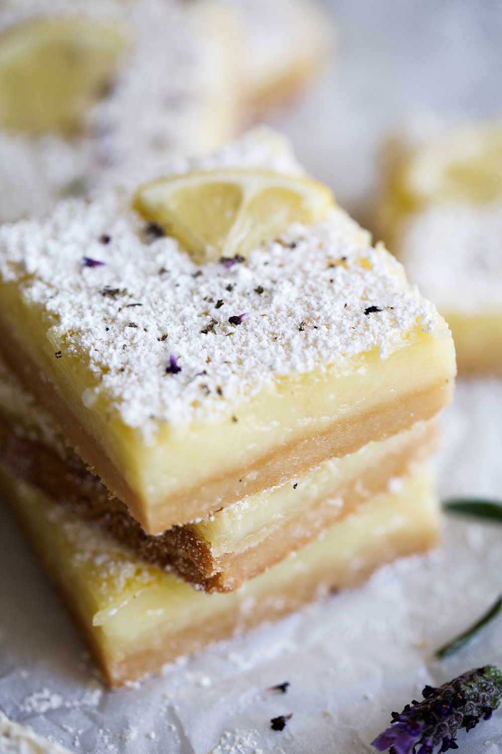 lemon lavender squares stacked closeup