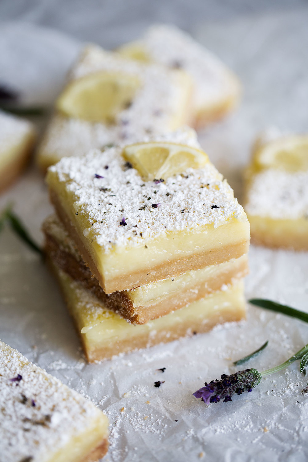 stacked lemon lavender bars